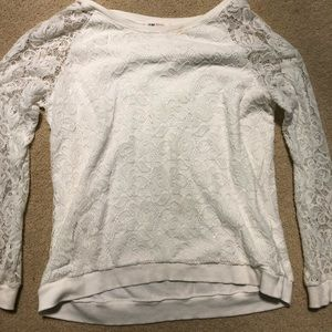 White lace long sleeve sweater